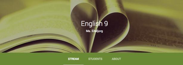 My Google Classroom homepage
