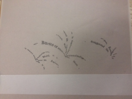 poem words printed on vellum in the shape of fireworks