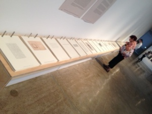 Ann Hamilton's deconstructed commonplace book in her exhibit, habitus, at The Fabric Workshop. Photo by me.